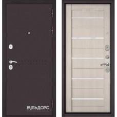 Входная дверь - MASS-90 (МР Букле шоколад R-4 / Ларче бьянко - царга CR-3 Lakobel White )