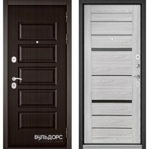 Входная дверь - MASS-90(РР Ларче шоколад 9S-108 / Ясень ривьера Айс -CR-1 Matelac Silver Grey)