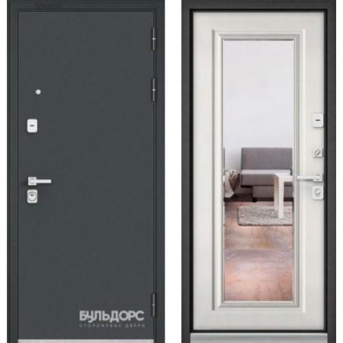 Входная дверь - PREMIUM 90 Черный шелк / Ларче бьянко - зеркало 9Р-140