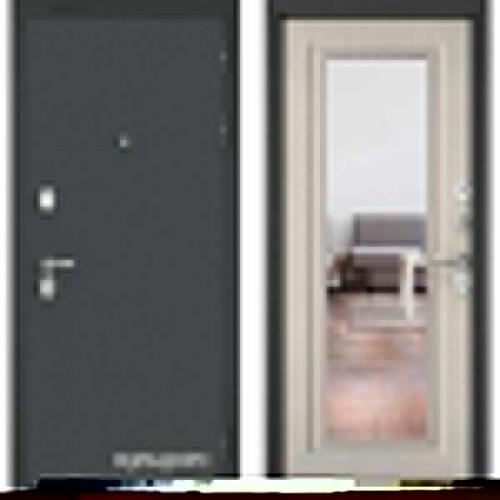 Входная дверь - STANDART 90 Черный шелк / Ларче бьянко - зеркало 9S-140