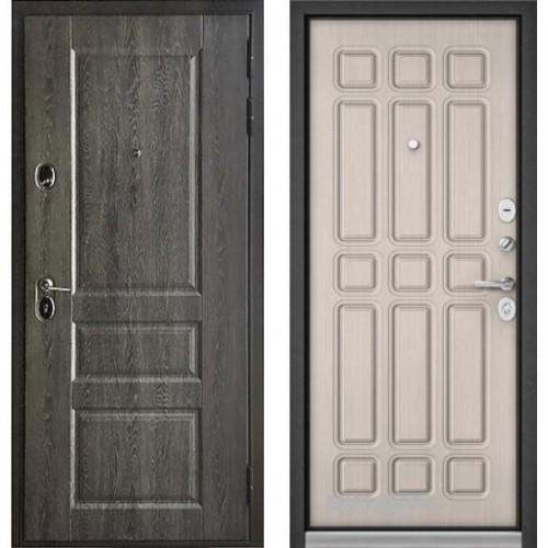 Входная дверь - Бульдорс STANDART - 90 (РР Дуб графит 9SD-2/Ларче бьянко 9S-111 )