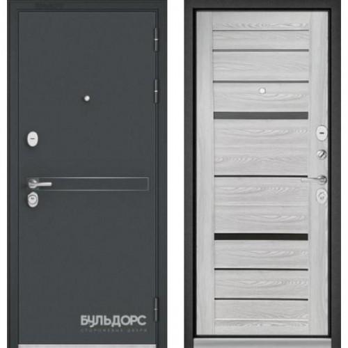 Входная дверь - STANDART - 90 (МР Черный шелк D-4/ Ясень ривьера Айс -CR-1 Matelac Silver Grey )