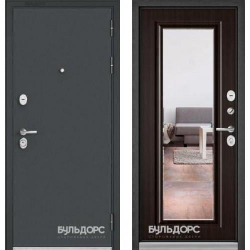 Входная дверь - Бульдорс STANDART 90 Черный шелк /Ларче шоколад - зеркало 9S-140