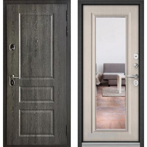 Входная дверь - Бульдорс STANDART 90 (РР Дуб графит 9SD-2/ Ларче бьянко зеркало 9S-140 )