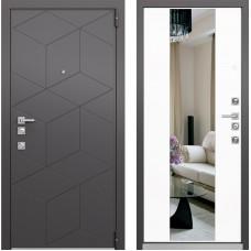 Входная дверь - Mastino FORTE Темный Пепел MS-112, Милк Матовый зеркало MS-120