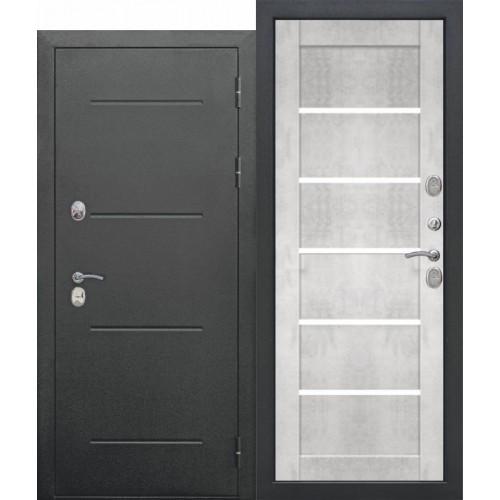 Входная дверь 11 см ISOTERMA Букле чёрный Царга Бетон снежный