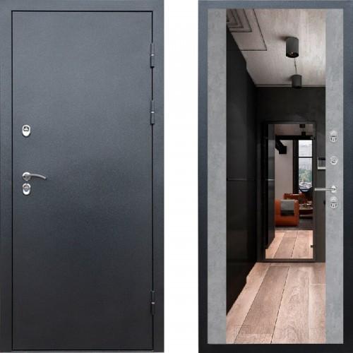 Входная дверь с терморазрывом - Сибирь термо серебро графит зеркало бетон (TD)